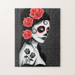 Day of the Dead Sugar Skull Girl - grey Puzzle
