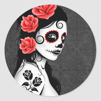 Day of the Dead Sugar Skull Girl - grey Round Sticker