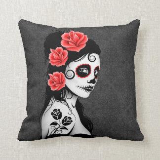 Day of the Dead Sugar Skull Girl - grey Throw Pillow