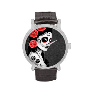 Day of the Dead Sugar Skull Girl - Grey Wristwatches