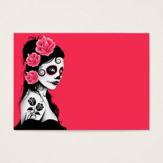 Day of the Dead Sugar Skull Girl - pink Business Card