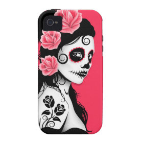 Day of the Dead Sugar Skull Girl - pink Vibe iPhone 4 Covers