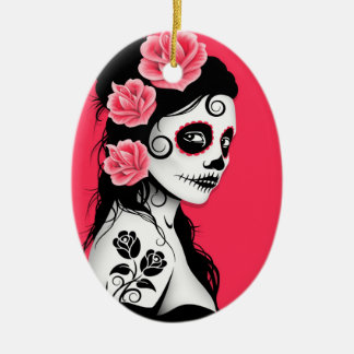 Day of the Dead Sugar Skull Girl - pink Ceramic Ornament