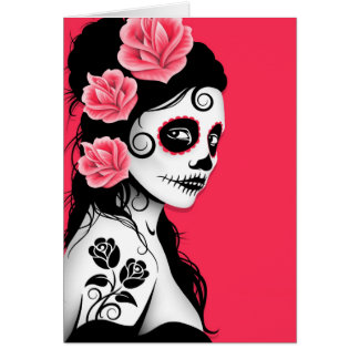 Day of the Dead Sugar Skull Girl - pink Greeting Card