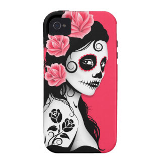 Day of the Dead Sugar Skull Girl - pink iPhone 4/4S Cover