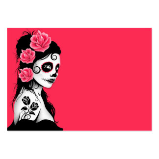 Day of the Dead Sugar Skull Girl - pink Large Business Card