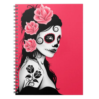 Day of the Dead Sugar Skull Girl - Pink Notebook