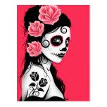 Day of the Dead Sugar Skull Girl - Pink Postcard