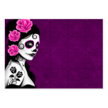 Day of the Dead Sugar Skull Girl - purple Large Business Cards (Pack Of 100)