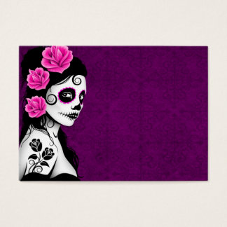 Day of the Dead Sugar Skull Girl - purple Business Card
