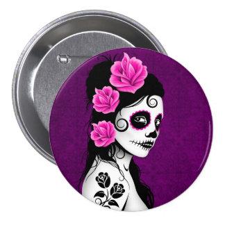 Day of the Dead Sugar Skull Girl - purple Button