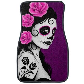 Day of the Dead Sugar Skull Girl Purple Car Floor Mat