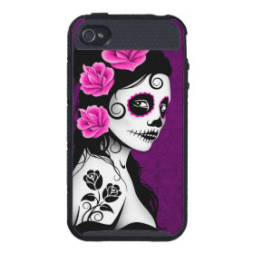 Day of the Dead Sugar Skull Girl - purple iPhone 4 Cases