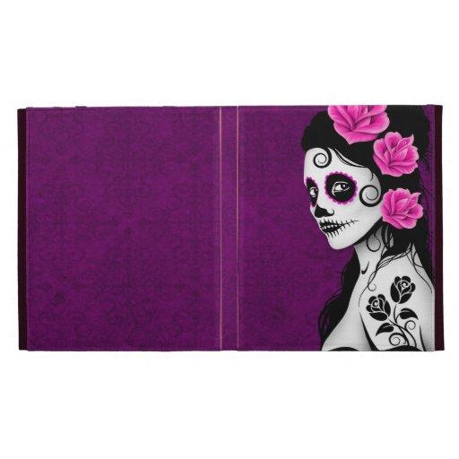 Day of the Dead Sugar Skull Girl - purple iPad Folio Cover