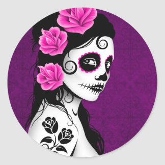 Day of the Dead Sugar Skull Girl - purple Classic Round Sticker