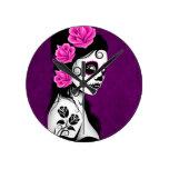 Day of the Dead Sugar Skull Girl - purple Round Wallclocks
