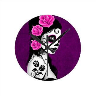 Day of the Dead Sugar Skull Girl - purple Round Wall Clocks