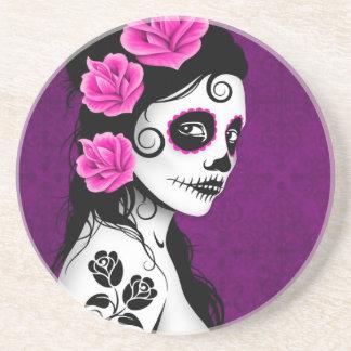Day of the Dead Sugar Skull Girl - purple Drink Coaster