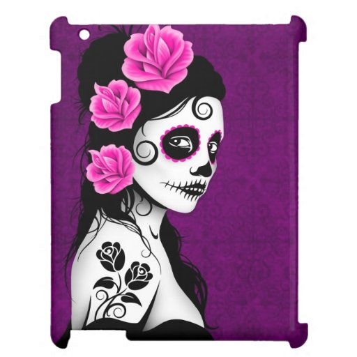 Day of the Dead Sugar Skull Girl - Purple Cover For The iPad 2 3 4
