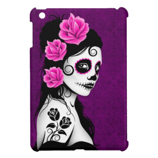 Day of the Dead Sugar Skull Girl - purple iPad Mini Cover