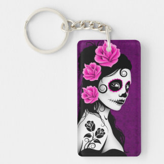 Day of the Dead Sugar Skull Girl - purple Keychain