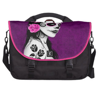 Day of the Dead Sugar Skull Girl - purple Laptop Bags