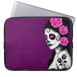 Day of the Dead Sugar Skull Girl - purple Computer Sleeve