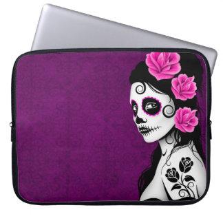 Day of the Dead Sugar Skull Girl - purple Computer Sleeve