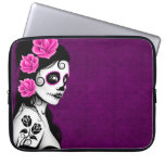 Day of the Dead Sugar Skull Girl - purple Laptop Computer Sleeves