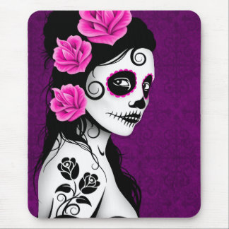 Day of the Dead Sugar Skull Girl - purple Mouse Pad