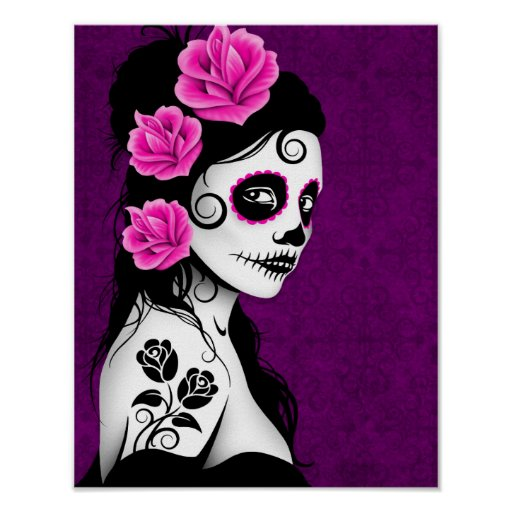 Day of the Dead Sugar Skull Girl - Purple Posters