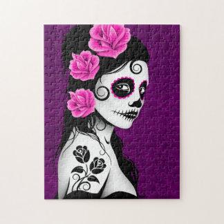 Day of the Dead Sugar Skull Girl - purple Puzzle