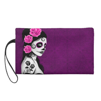 Day of the Dead Sugar Skull Girl - purple Wristlet