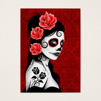 Day of the Dead Sugar Skull Girl - red Business Card