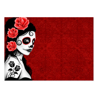 Day of the Dead Sugar Skull Girl - red Business Card Template