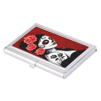 Day of the Dead Sugar Skull Girl - Red Business Card Holder