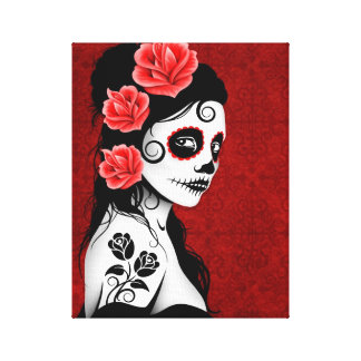 Day of the Dead Sugar Skull Girl - red Canvas Print