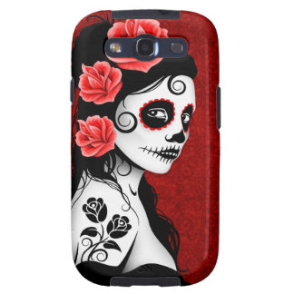 Day of the Dead Sugar Skull Girl - red Galaxy SIII Case