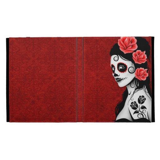 Day of the Dead Sugar Skull Girl - red iPad Folio Cover
