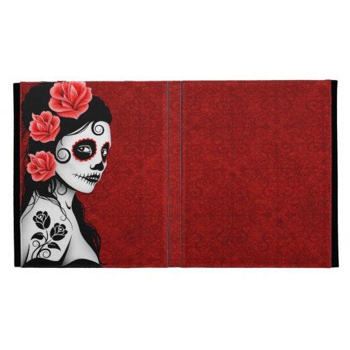 Day of the Dead Sugar Skull Girl - red iPad Folio Case