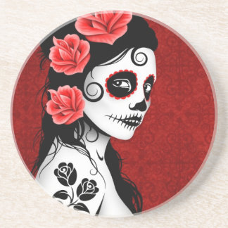 Day of the Dead Sugar Skull Girl - red Drink Coaster