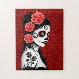 Day of the Dead Sugar Skull Girl - red Jigsaw Puzzle