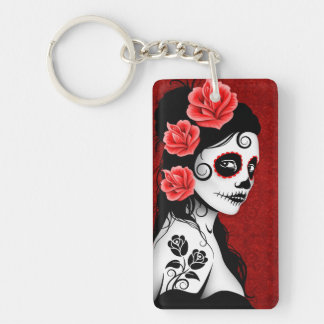 Day of the Dead Sugar Skull Girl - red Acrylic Key Chain