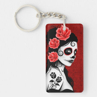 Day of the Dead Sugar Skull Girl - red Double-Sided Rectangular Acrylic Keychain