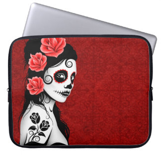 Day of the Dead Sugar Skull Girl - red Laptop Sleeve