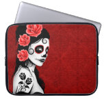 Day of the Dead Sugar Skull Girl - red Laptop Sleeves