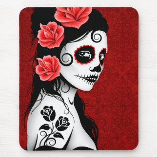 Day of the Dead Sugar Skull Girl - red Mousepad