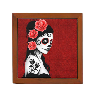 Day of the Dead Sugar Skull Girl - Red Pencil/Pen Holder