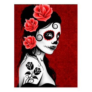 Day of the Dead Sugar Skull Girl - red Postcard