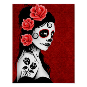 Day of the Dead Sugar Skull Girl - red Poster